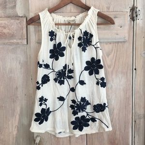 Lucky Brand Floral Embroidered Tank Top Small